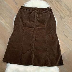 Cato Vintage Brown Corduroy A Line Skirt 16